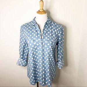 NWT LOFT Polka Dot Chambray Button Down Shirt